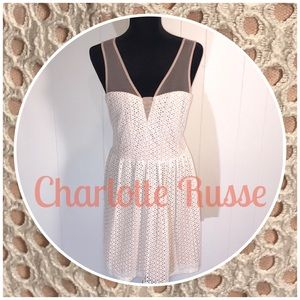 Charlotte Russe Nude&Ivory Lace Sweetheart Dress🌟